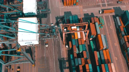 estaleiro : HONG KONG - MAY 1, 2018: Aerial view of a modern port container terminal. Import and export, business logistic.