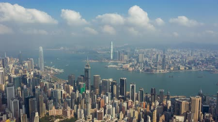 szopka : HONG KONG - MAY 2018: Aerial view of Causeway Bay and Victoria Bay, residential and office buildings and skyscrapers. Wideo