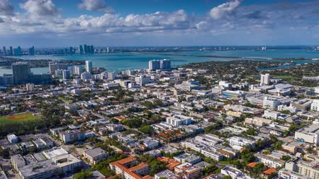 drone miami : MIAMI, FLORIDA, USA - JANUARY 2019: Aerial drone panorama view flight over Miami beach city centre.