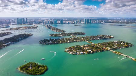 drone miami : Aerial drone panorama view flight over Miami. Venetian Islands from above.
