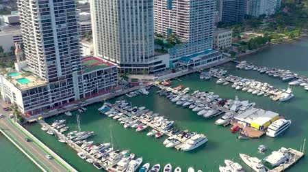luxury yacht : MIAMI, FLORIDA, USA - JANUARY 2019: Aerial drone view flight over Miami Edgewater district on Biscayne Bay.