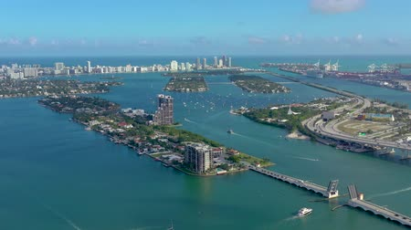 embarcadero : Aerial drone view flight over Miami sea port. Ships and cruise liners at the pier. Stock Footage