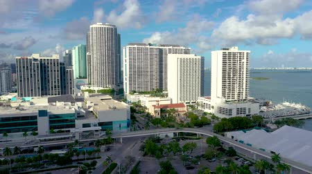 pavimento : MIAMI, FLORIDA, USA - MAY 2019: Aerial drone view flight over Miami downtown. Streets, residential buildings from above. Archivo de Video