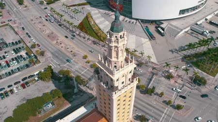 freedom tower : MIAMI, FLORIDA, USA - MAY 2019: Aerial shot of Miami downtown. Freedom Tower and Biscayne boulevard from above.