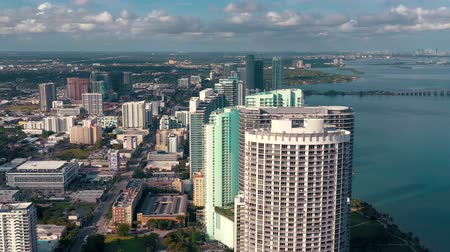 drone miami : MIAMI, FLORIDA, USA - JANUARY 2019: Aerial drone view flight over Miami Edgewater district on Biscayne Bay.