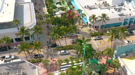 drone miami : MIAMI, FLORIDA, USA - JANUARY 2019: Aerial drone panorama view flight over Miami beach city centre. Bee attack.