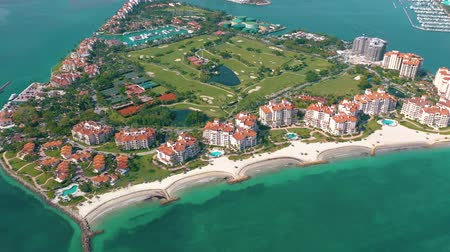 usa : MIAMI, FLORIDA, USA - MAY 2019: Aerial drone view flight over Miami beach. South Beach and Fisher island from above.