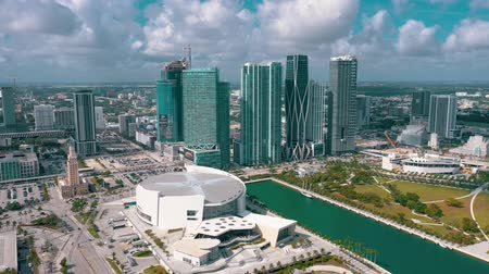 drone miami : MIAMI, FLORIDA, USA - MAY 2019: Aerial view flight over Miami downtown. American Airlines arena and park from above.
