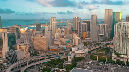 drone miami : MIAMI, FLORIDA, USA - MAY 2019: Aerial drone view flight over Miami downtown. Hotels, business buildings from above.