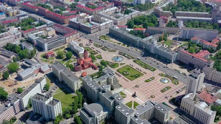 lehet : MINSK, BELARUS - MAY, 2019: Aerial drone shot view of city centre. Niazaleznasci square from above.