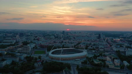 lehet : MINSK, BELARUS - MAY, 2019: Aerial drone shot view of city centre. Dinamo stadium and sports objects from above.