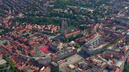 ザグレブ : ZAGREB, CROATIA - MAY, 2019: Aerial view drone shot of Zagreb city from above.