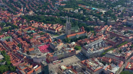 hırvatistan : ZAGREB, CROATIA - MAY, 2019: Aerial view drone shot of Zagreb city from above.