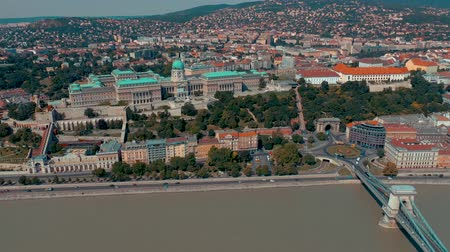parlamento : BUDAPEST, HUNGARY - MAY, 2019: Aerial drone view of Budapest city historical centre with beautiful architecture.