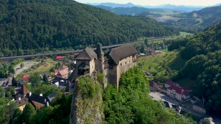 oravsky : Orava castle in Slovakia. Medieval fortress on extremely high and steep cliff by the Orava river.