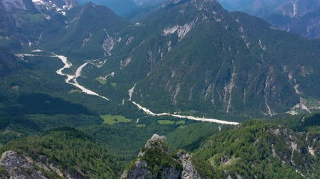 alpes : Scenic view of the beautiful landscape in the Alps, picturesque nature of Italy, Tarvisio. Aerial drone panorama view.