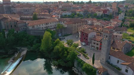 wandklok : Aerial panorama drone view of small town Cividale del Friuli beautiful architecture Stockvideo