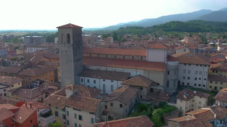 wandklok : UDINE PROVINCE, ITALY - JUNE, 2019: Aerial panorama drone view of small town Cividale del Friuli beautiful architecture Stockvideo