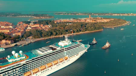 venedik : VENICE, ITALY - JUNE, 2019: Aerial drone panorama view of Venice. Ð¡ruise ship sails past historic sites.