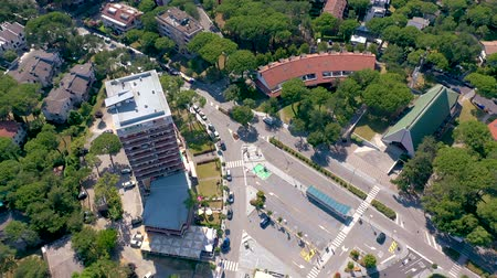 latarnia morska : LIGNANO, ITALY - MAY, 2019: Lignano city at Adriatic sea coastline in Italy aerial drone view. Europe during summer. Wideo