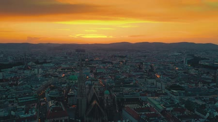 avusturya : VIENNA, AUSTRIA - JUNE, 2019: City skyline aerial shot. Cathedrals and cityscape. Significant tourist sites from above