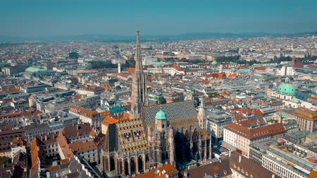 austrian : VIENNA, AUSTRIA - JUNE, 2019: City skyline aerial shot. Cathedrals and cityscape. Significant tourist sites from above