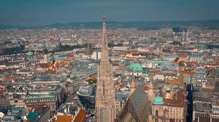 Дунай : VIENNA, AUSTRIA - JUNE, 2019: City skyline aerial shot. Cathedrals and cityscape. Significant tourist sites from above