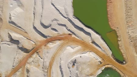 csehország : Aerial drone view of a chalkpit near Turnov city. Stock mozgókép