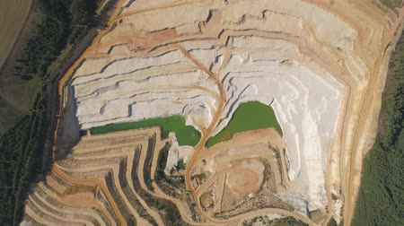 tcheco : Aerial drone view of a chalkpit near Turnov city. Stock Footage