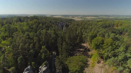 ruins : Aerial drone view of a beautiful landscape of National Park Cesky Raj near Prague. Stock Footage