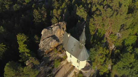 Čechy : TURNOV, CZECH REPUBLIC - JUNE, 2019: Aerial drone view of Gothic castle in National Park Cesky Raj near Prague.