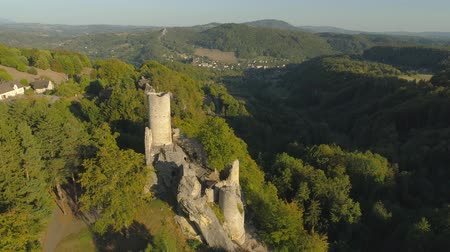 bohemio : TURNOV, CZECH REPUBLIC - JUNE, 2019: Aerial drone view of Gothic castle in National Park Cesky Raj near Prague.