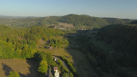 prag : Aerial drone view of a beautiful landscape of National Park Cesky Raj near Prague. Stok Video
