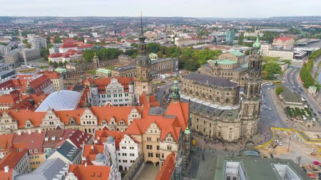 barok : DRESDEN, GERMANY - JUNE, 2019: Aerial panorama drone view of Dresden historical city centre.