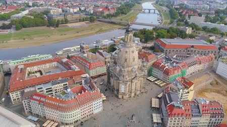 historical germany : DRESDEN, GERMANY - JUNE, 2019: Aerial panorama drone view of Dresden historical city centre.