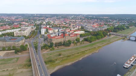 немецкий : DRESDEN, GERMANY - JUNE, 2019: Aerial panorama drone view of Dresden historical city centre.