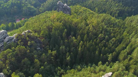 tırmanış : Bastei Park in Saxony, Germany, wonderful aerial drone panorama view. Stok Video