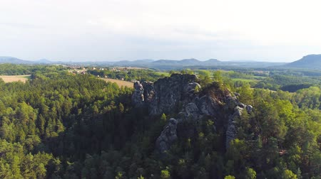 maravilhoso : Bastei Park in Saxony, Germany, wonderful aerial drone panorama view. Stock Footage