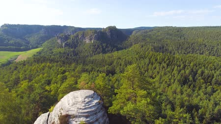 saxon : Bastei Park in Saxony, Germany, wonderful aerial drone panorama view. Stock Footage