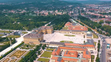barocco : VIENNA, AUSTRIA, - JUNE 2019: Aerial view of former imperial summer residence, tourist attraction.