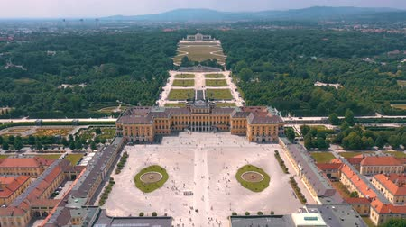 monarchy : VIENNA, AUSTRIA, - JUNE 2019: Aerial view of former imperial summer residence, tourist attraction.