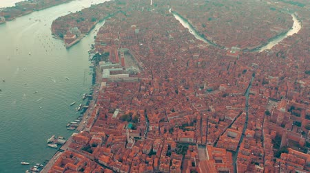 venedik : Aerial drone panorama view of Venice beautiful architecture. Flight over canals and roofs.
