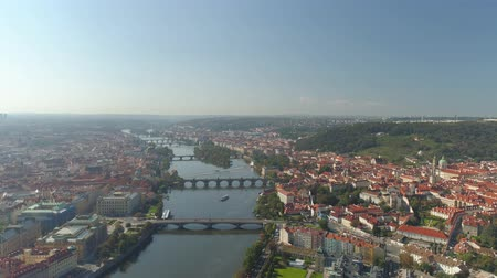 prag : PRAGUE, CZECH REPUBLIC - MAY, 2019: Aerial pamorama drone view of the city centre, cityscape of Prague.