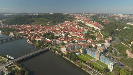 charles bridge : PRAGUE, CZECH REPUBLIC - MAY, 2019: Aerial pamorama drone view of the city centre, cityscape of Prague.