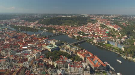 Česká republika : PRAGUE, CZECH REPUBLIC - MAY, 2019: Aerial pamorama drone view of the city centre, cityscape of Prague.