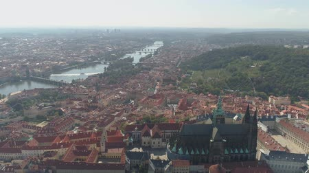 찰스 : PRAGUE, CZECH REPUBLIC - MAY, 2019: Aerial pamorama drone view of the city centre, cityscape of Prague.