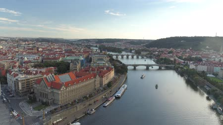 prague bridge : PRAGUE, CZECH REPUBLIC - MAY, 2019: Aerial pamorama drone view of the city centre, cityscape of Prague.