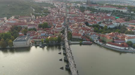 fővárosok : PRAGUE, CZECH REPUBLIC - MAY, 2019: Aerial pamorama drone view of the city centre, cityscape of Prague.