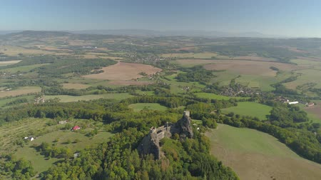 prag : Ruins of Gothic castle Trosky in National Park Czech Paradise. Aerial view to medieval monument in Czech Republic.