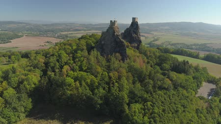 Čechy : Ruins of Gothic castle Trosky in National Park Czech Paradise. Aerial view to medieval monument in Czech Republic.